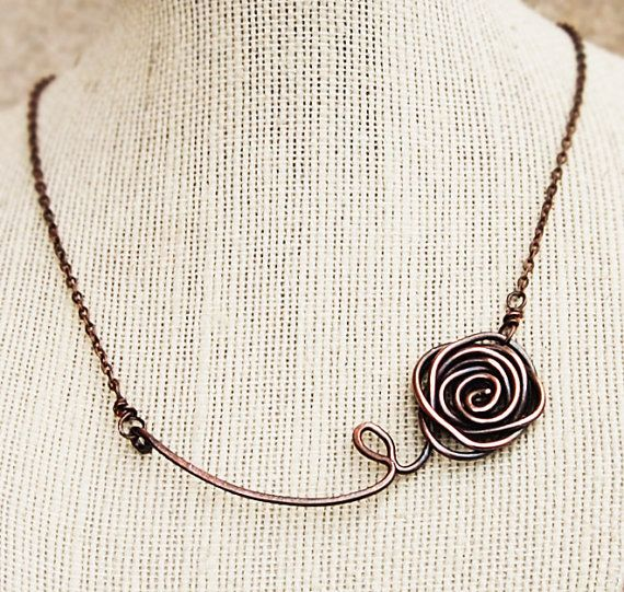 Wire Rose necklace, Asymmetrical, Oxidized copper, Wire jewelry