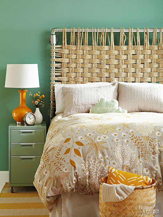 Embrace two trends -- rope decor and industrial accents -- with this DIY headboard! See more chic headboard ideas here: http://www.bhg.com/rooms/bedroom/headboard/cheap-chic-headboard-projects/?socsrc=bhgpin031615ropeheadboard&page=4