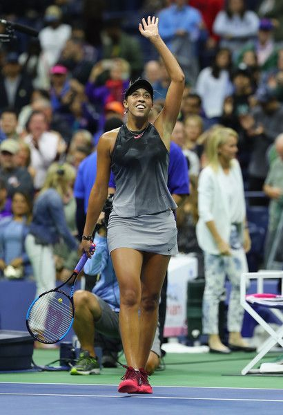 Madison Keys of the United States reacts against Elena Vesnina of Russia during their third round Women's Singles match on Day Six of the 2017 US Open at the USTA Billie Jean King National Tennis Center on September 2, 2017 in the Flushing neighborhood of the Queens borough of New York City.