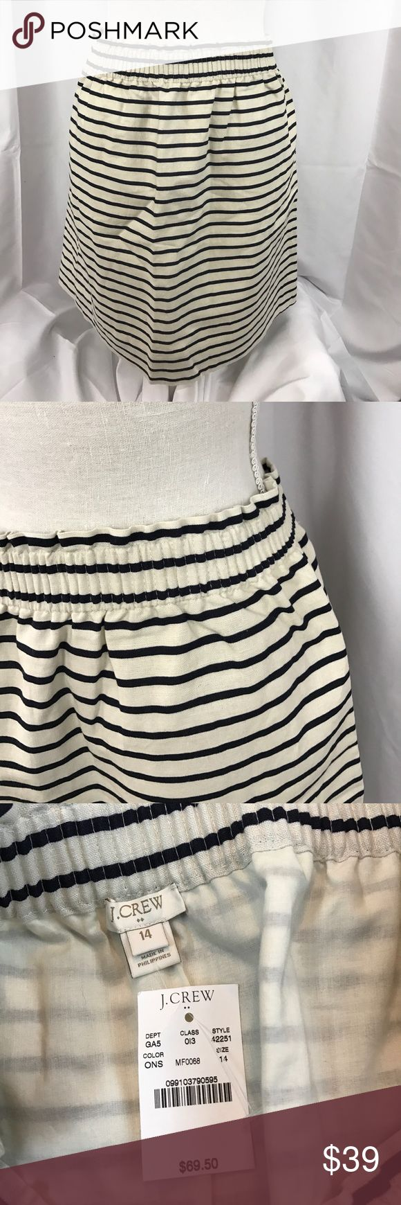 "NWT J. Crew sz14 Linen blend striped skirt NWT J. Crew sz14 Linen blend cream/navy striped skirt w/elastic waist...has pockets, which are soft stitched closed from factory-see Picts...great spring casual skirt...19"" total length... J. Crew Skirts"