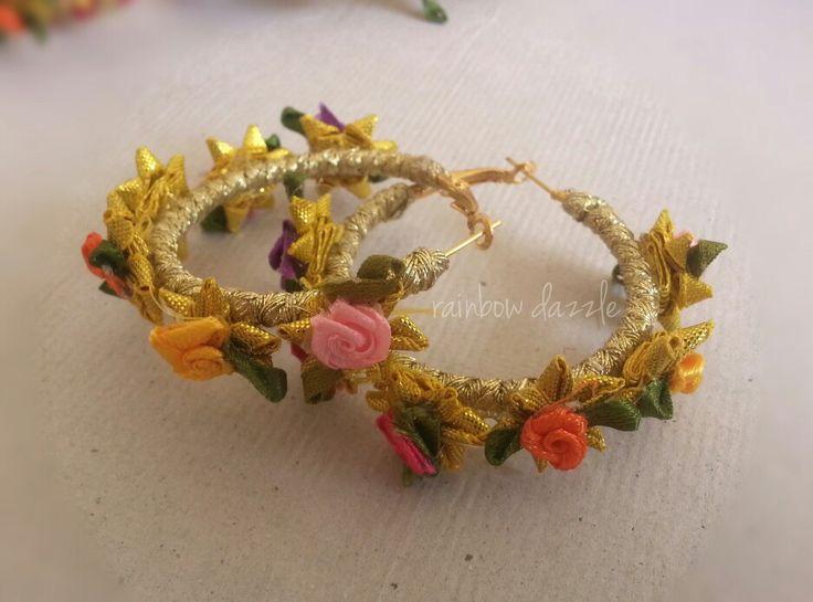 Handmade Gota flower earrings