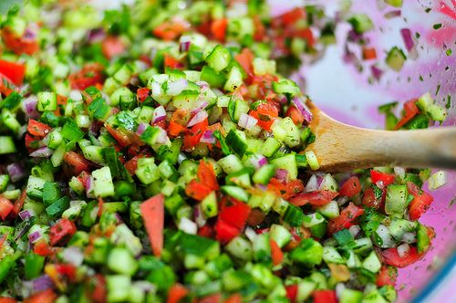 Israeli Salad With Red Wine Vinegar