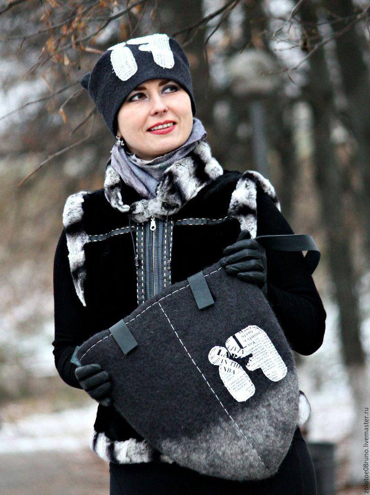 """Купить Авторская сумка и шапка """"FI"""" (комплект). Коллекция """"Graffiti"""". - темно-серый, однотонный, шапка"""