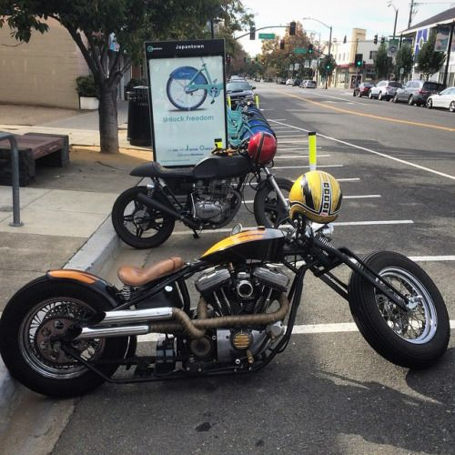 Harley chopperartbylos:  For sale! hit me up, time for a new project :) sharing is caring built by Shea Nyquist #bobber #harley #barhopper #larkmachineco