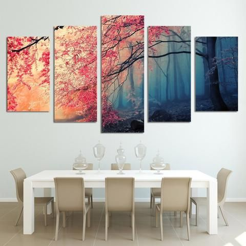 5 Pieces Red Trees Forest Landscape Wall Art