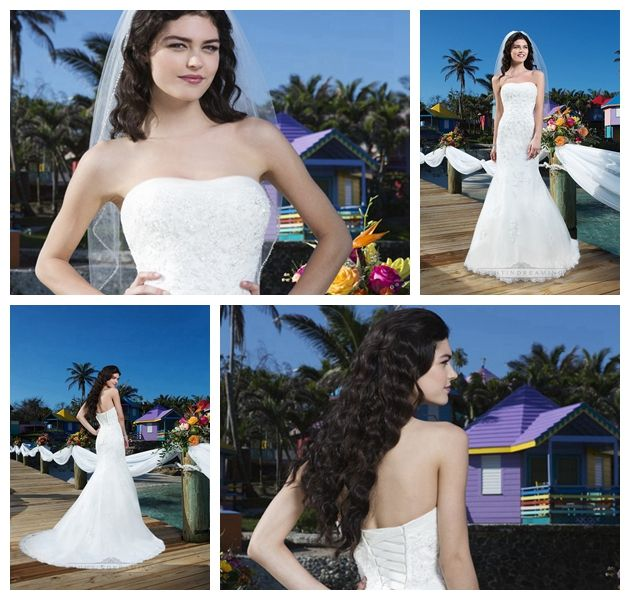 Beaded Lace Tulle Fit And Flare Strapless Tulle Halter Wedding Gown