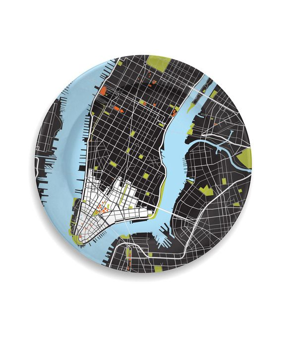 these super modern city plates are a perfect gift for the urban couple! they come in sets of three, and with twelve cities to choose from, try picking three with some significance to the bride and groom.