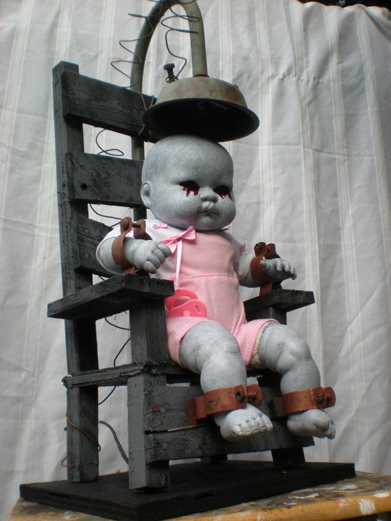 contact us and purchase your own electric chair to help keep your creepy little kid happy. The size of the chair is 29 inches tall by 13