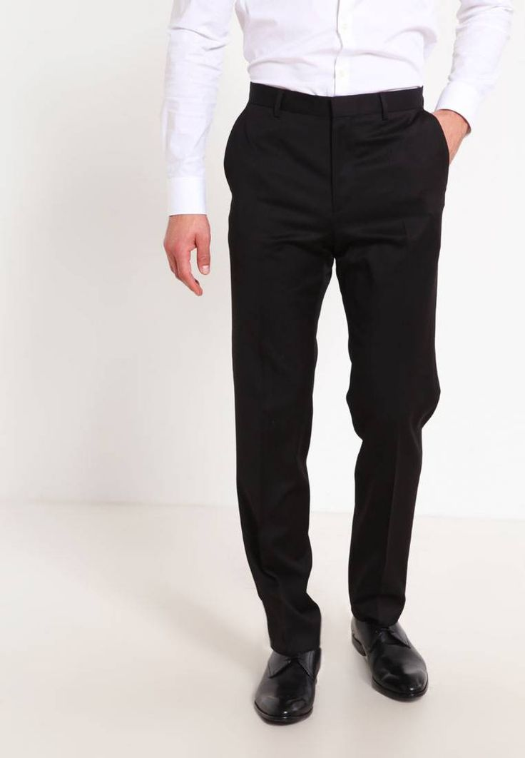 """HUGO. AERON/HAMEN - Suit - black. Outer fabric material:100% wool. Pattern:plain. Care instructions:Dry clean only. Sleeve length:long,26.0 """" (Size 40R). Back width:17.5 """" (Size 40R). outer leg length:41.5 """" (Size 40R). Rise:normal..."""