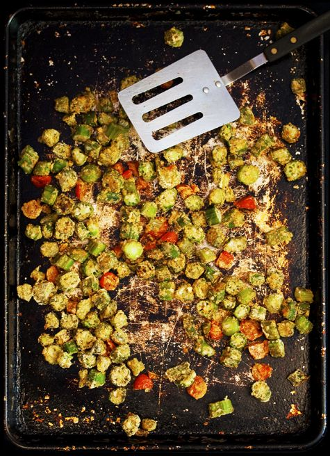 A fat free, spicy okra side dish, perfect served with black eyed peas.