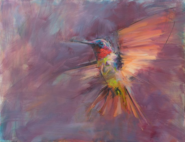 Hummingbird -  oil no canvas  www.jamelakib.com