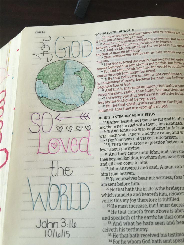 John 3:16 KJV bible journaling. Lindsey Ramsey