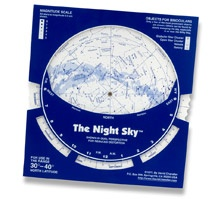 This is called a Planisphere. You align the date and time to see what constellations are currently in the sky. We have them for both hemispheres and it can be added to any order.    $9.95