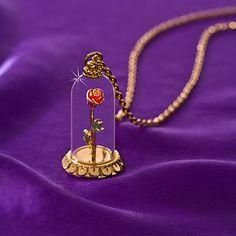 ''Enchanted Rose'' Beauty and the Beast Necklace