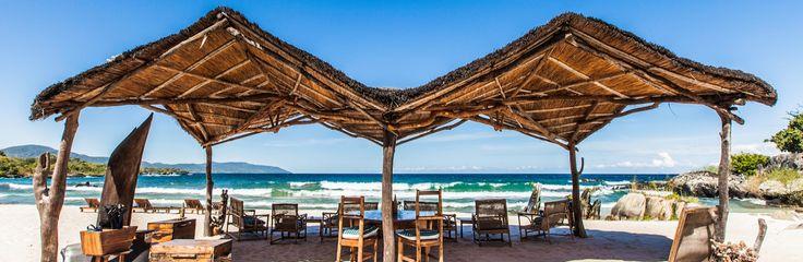 Beach shelter, Nkwichi Lodge, Lake Malawi, Malawi