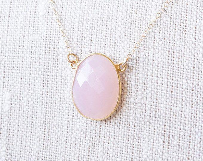 Collar, collar de oro, collar de Calcedonia, collar rosa, collar de piedras preciosas, cuarzo rosa collar, collar hecho a mano, collar de Dama de honor