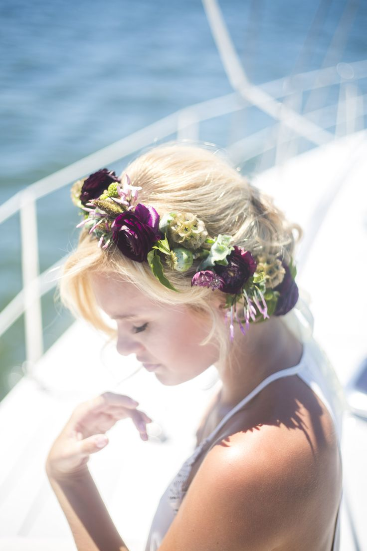 Purple ranunculus, jasmine, and scabiosa pod boho floral crown.  Crown by Blum.  Photo by RP Imagery.  www.rpimagery.com.  #setsail