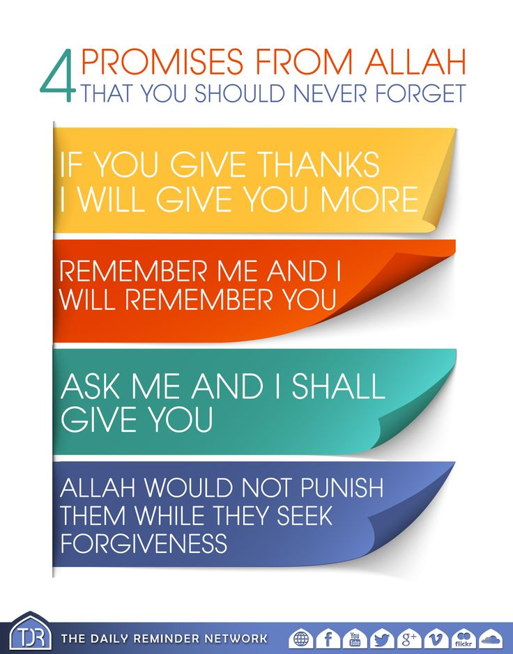 4 promises from Allah that you should never forget...  1. 'If you give thanks, I will give you more.' 2. 'Remember me and I will remember you.' 3. 'Ask me and I shall give you.' 4. 'Allah would not punish them while they seek forgiveness.'