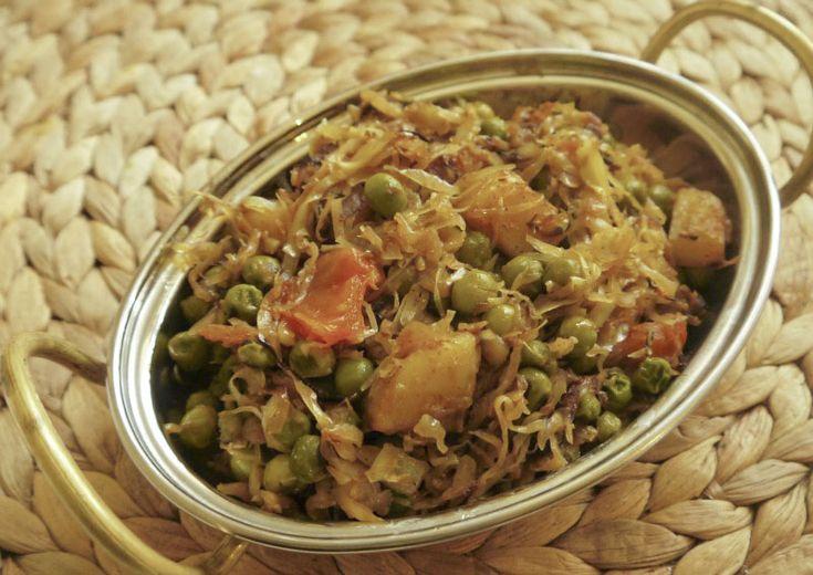 Badhakopi tarkari – bengáli káposzta-krumpli-zöldborsó sabji