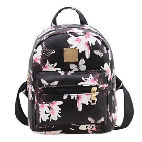 Oferta: 7.99€. Comprar Ofertas de Tongshi Las mujeres Mochila Moda bolsa de cuero impreso floral ocasional (Negro) barato. ¡Mira las ofertas!