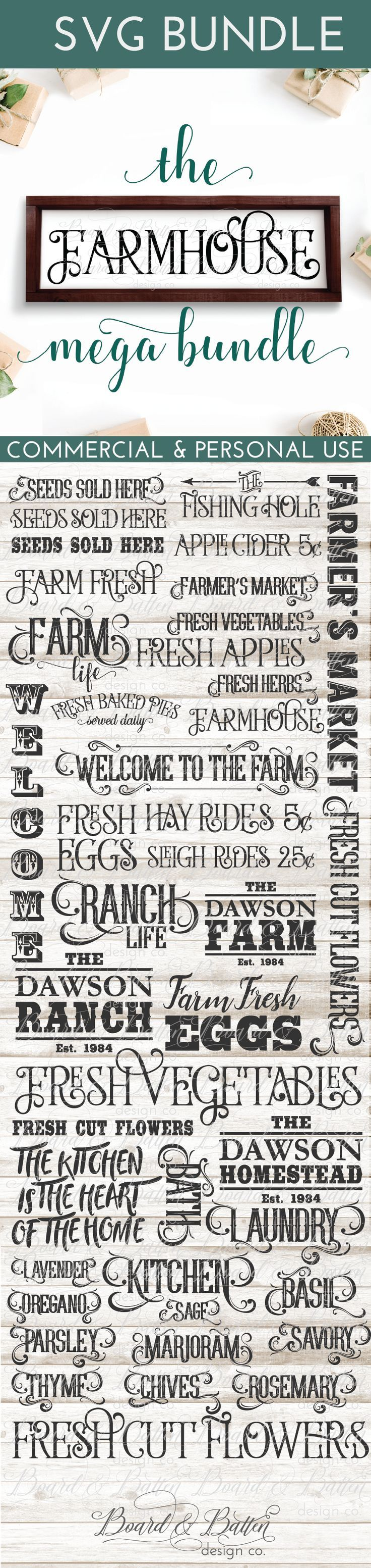 Love making farmhouse style decor with your Silhouette or Cricut? Grab this set of vintage farmhouse style SVGs today for a whole bunch of great project ideas and save over 60% while you're at it! With several different farmhouse styles, you're sure to find the perfect look for you. With commercial use license included, it's a great way to fill up a craft show booth, make gifts for everyone on your list, or just style your own home for the perfect farmhouse look!
