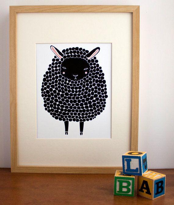 Black Sheep Illustration Nursery Art, Children Decor - Free US Shipping