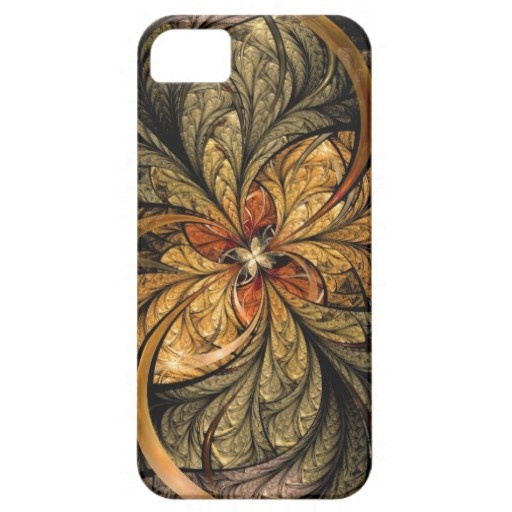 Metallic, shining leaves with the colors of Autumn. Abstract fractal artwork by Liz Molnar on iPhone 5 case #iPhone #abstract #fractal $44.40