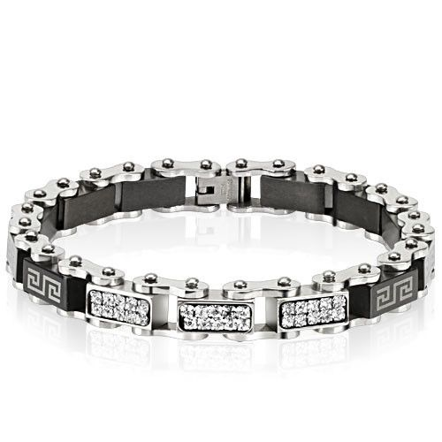 """Stainless Roller Chain Bracelet  Chain Links with Black Geometric squares and paved gems give this bracelet just the right amount of """"biker"""" attitude to make it work for men or women.  8.5 inches long..   .35 inches wide and .24 inches thick."""