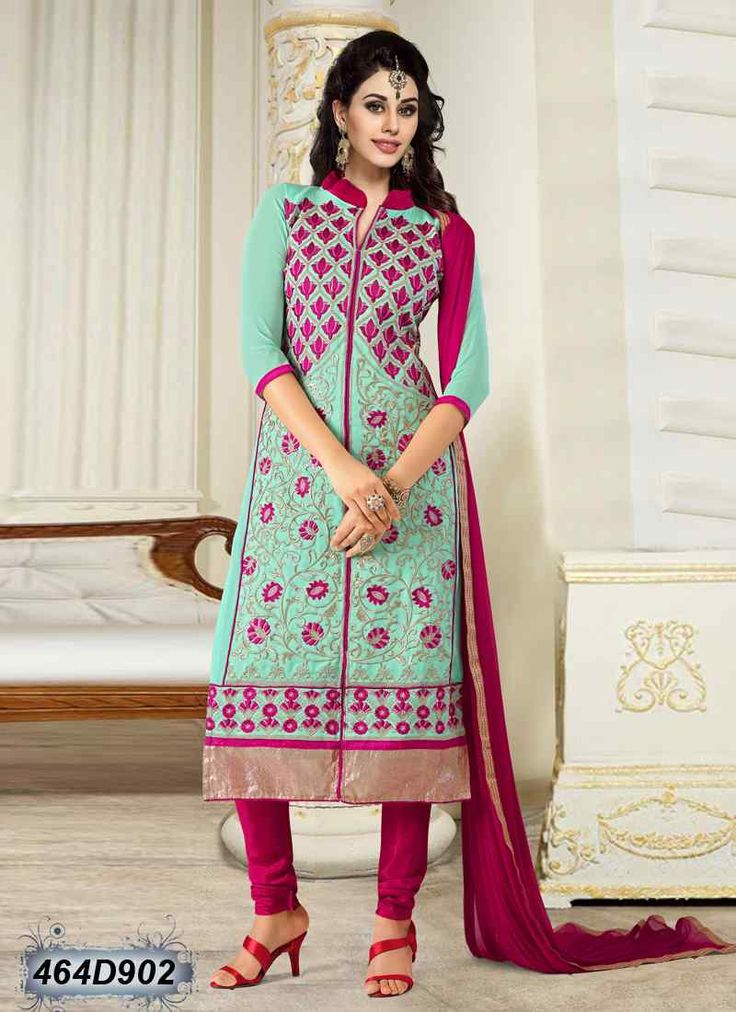 Enticing Sea Green Coloured Georgette Semi stitched Salwar Suit