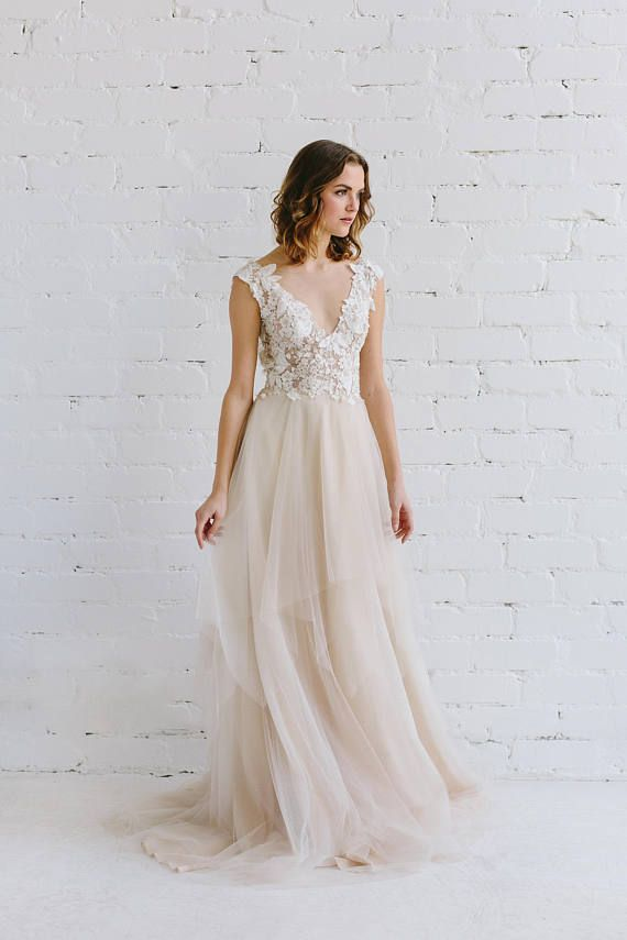 ad7e1f9d44edb Boho Wedding Dress/ Bridal Separates/ Two Piece Wedding Dress/ Nude ...