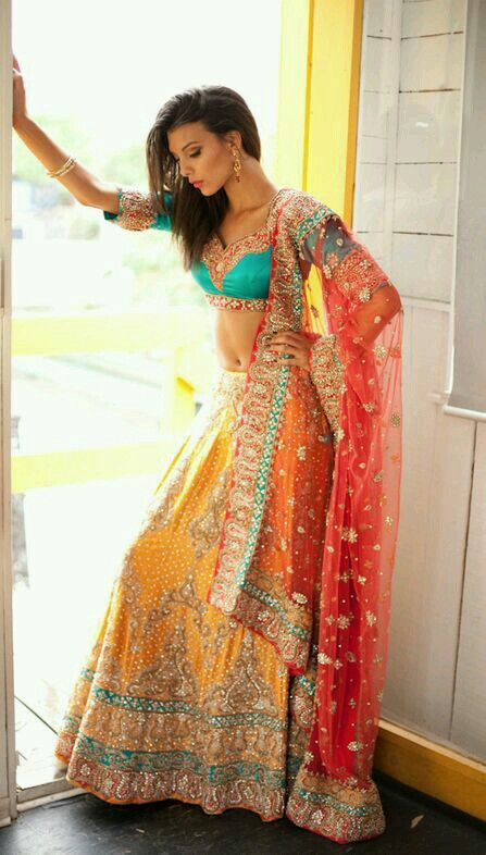 Colorful, sophisticated, elegant. Amazing lengha. Tags: blue, orange, red, turquoise, coral, indian, punjabi, wedding