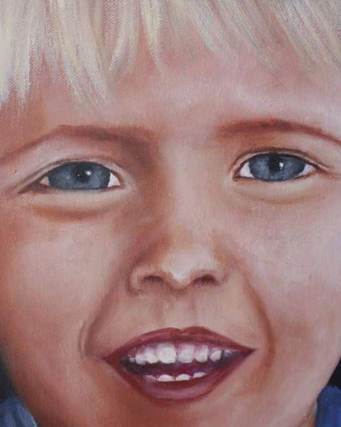 Detail of Portrait of two youbg boys. Original oil painting by Carina Turck-Clark. #originalart #art #ArtbyCarinaturckclark #boys #baby #blueeyed #painting #portrait @thouartuseful