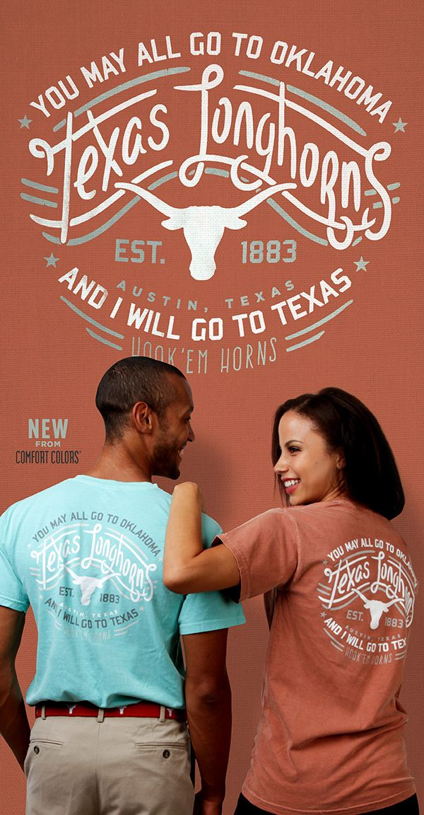 """Gear up for this year's Red River Rivalry game in Dallas with this comfy tee as you cheer on the Longhorns! This Comfort Colors Collection t-shirt was inspired by Davy Crockett's famous quote and is printed on the back as """"You may all go to Oklahoma and I will go to Texas"""". Centered on the back an arched Texas Longhorns over Bevo in stylized script with gray accent lines, and """"Hook 'Em Horns"""" also in gray. The front of the shirt features a Longhorns silhouette on the left chest. This comfy…"""
