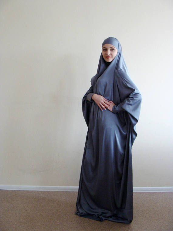 Elegant Silk Khimar, muslim dress, Gray Burqa,Dubai Abaya, traditional hijab,long hijab, Long burqa,Islamic Niqab, Maxi dress, Hijabi