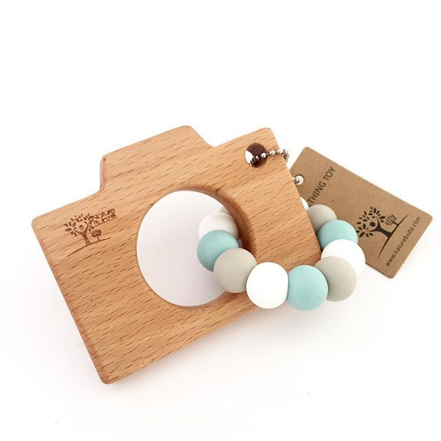   CLICK SNAP!   All the love for this beech teething camera! Warm grey + seafoam + white