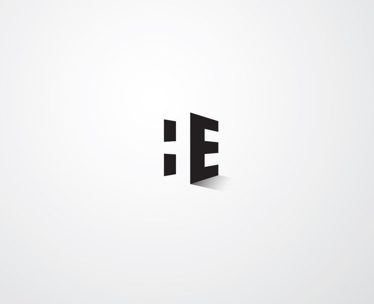"Logo study, where the artist used negative space in the logo combining his initial letters ""H&E""."