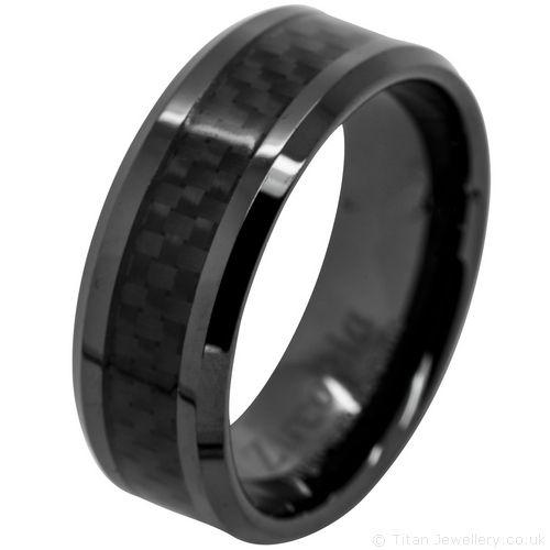 Unisex Black Carbon Fibre Ring Polished UK sizes J to Z+6