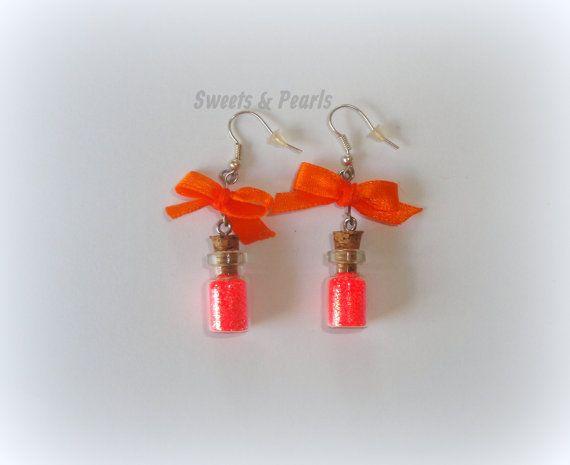 Handmade Sparkling Orange Glitter Dust in mini miniature glass bottles Bow Cute Gift DecoDen Kawaii Earrings silver plated Hooks Girly girl