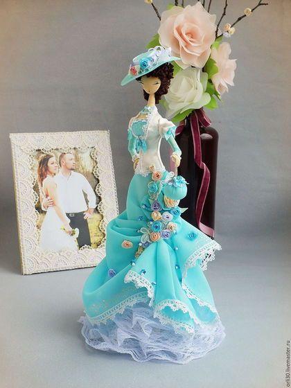 Купить Текстильная кукла. Тряпиенса в голубом платье. Вера. - бирюзовый, тряпиенс, тряпиенса, тряпиенсы