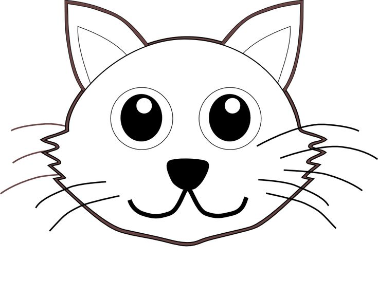 Line Drawing Animal Face : Cat face cartoon black white line coloring sheet