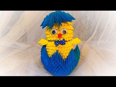 origami kurczak 3D / how to make a chick DIY wielkanocny tutorial - YouTube