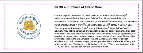 $5 off $25 or more Online: Use Build A Bear Coupon Code 97354 In-store Printable Build A Bear Coupons