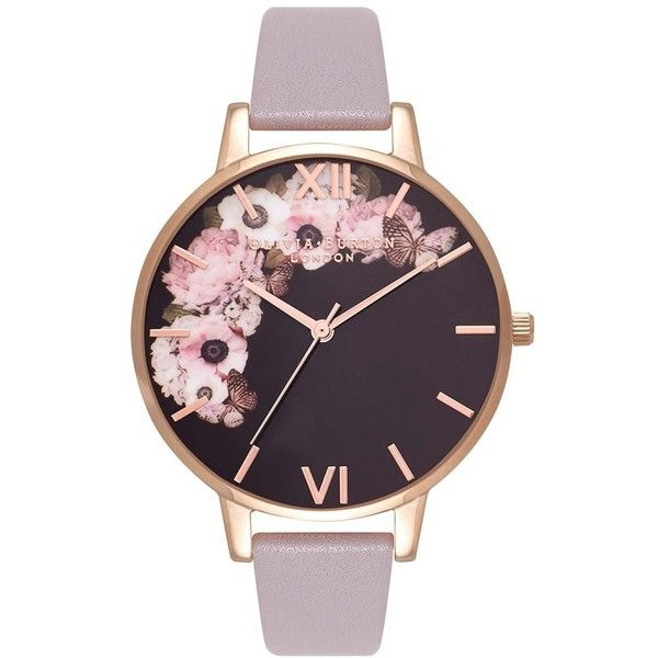 Women's Olivia Burton Winter Garden Leather Strap Watch, 38Mm (1 095 SEK) ❤ liked on Polyvore featuring jewelry, watches, accessories, leather strap watches, olivia burton, rose jewelry, monarch butterfly jewelry and rose charm