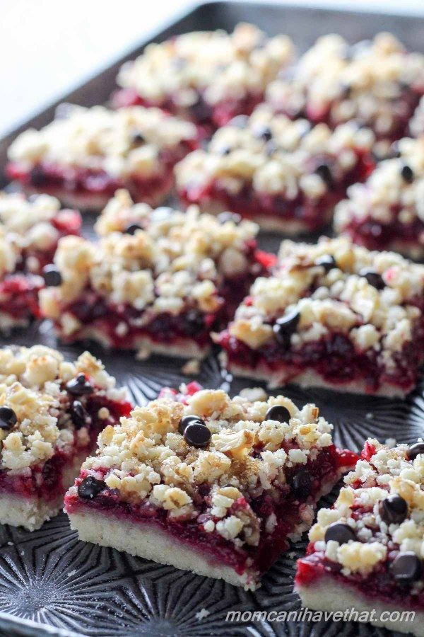 Cranberry Walnut Crumb Bars are easy to make and super delicious! | Low Carb, Gluten-free, Dairy-free option, Paleo, Keto, THM | momcanihavethat.com