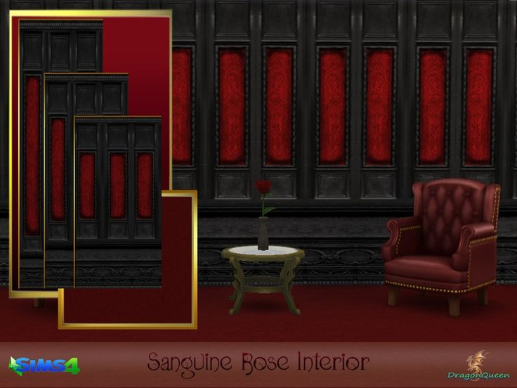 Beautifully carved black wood panels with inserts of vibrant red, offset and highlighted by deep red plush carpeting.  Part of the Sanguine Rose Restaurant Collection.  Found in TSR Category 'Sims...