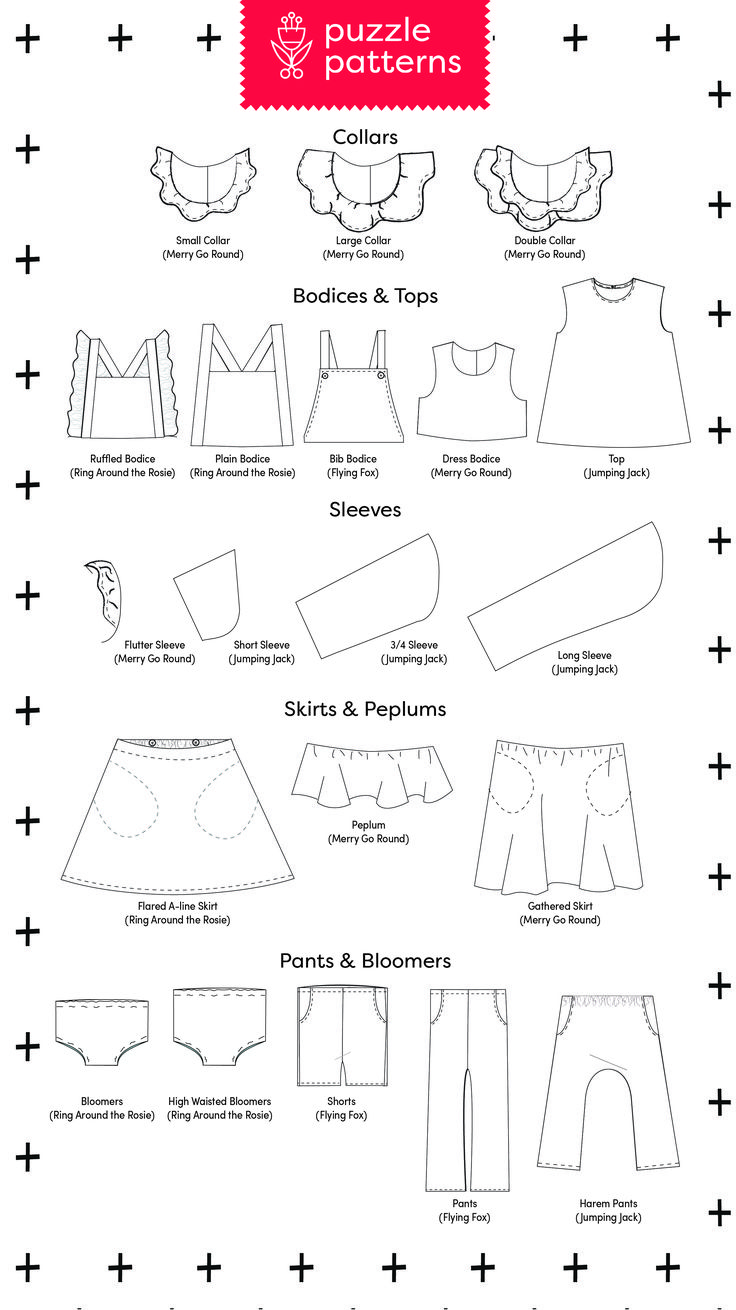 Create an entire capsule wardrobe with this PDF sewing pattern collection! rompers, overalls, bloomers, skirts, pants, shorts, tops, collars, sleeves, dress.