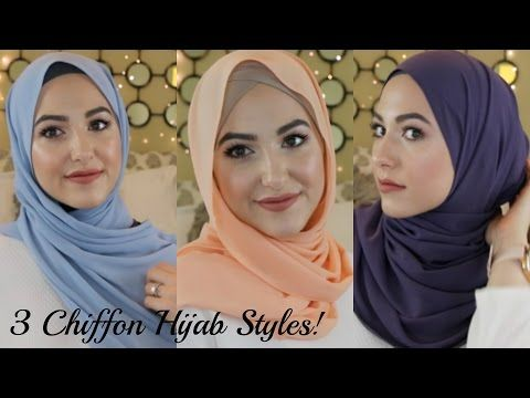 3 Effortless Chiffon Hijab Styles - light blue style is easy and pretty