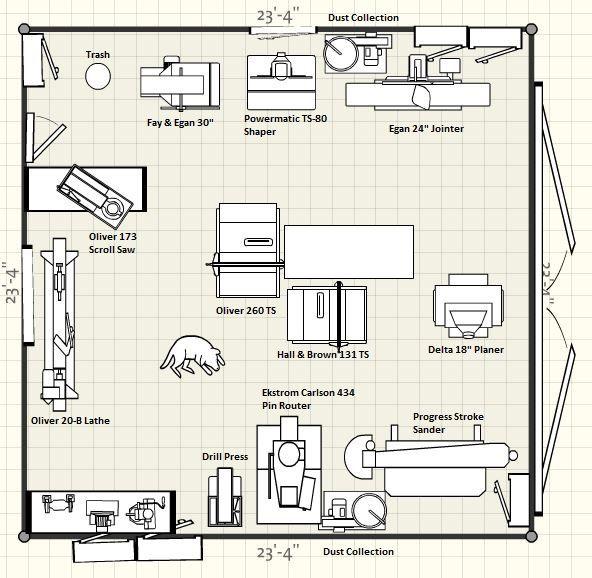 The 25 best workshop layout ideas on pinterest workshop for Garage woodshop plans