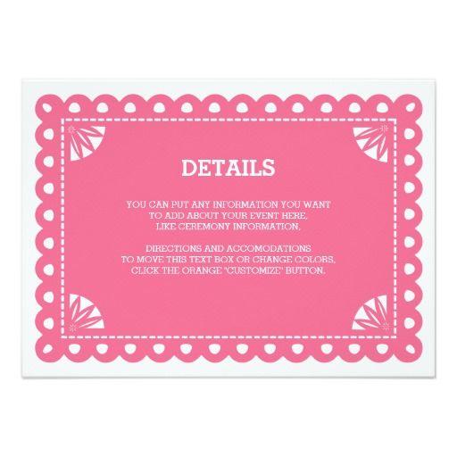 Papel Picado Insert Card   Pink. ConfettiSpanish WeddingWhimsical ...