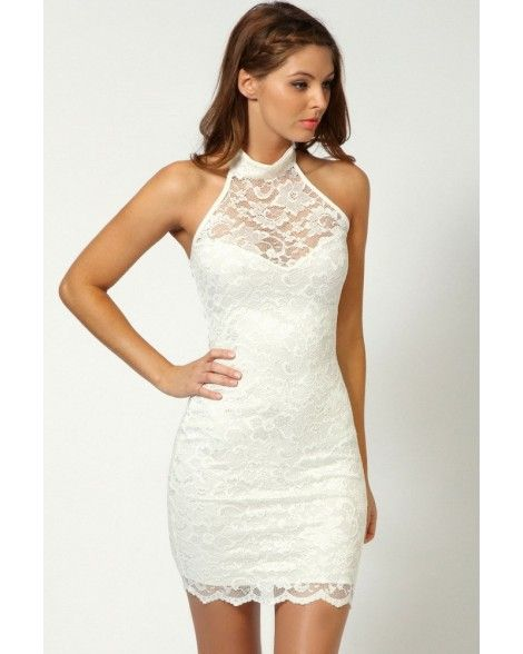 White Black Blue Sweetheart Halterneck Lace dresses